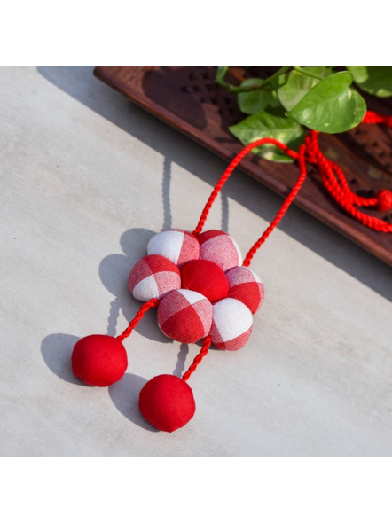 Handcrafted Designer Red and White Fabric Floral   Pendant with Adjustable Dori-LAACNL001