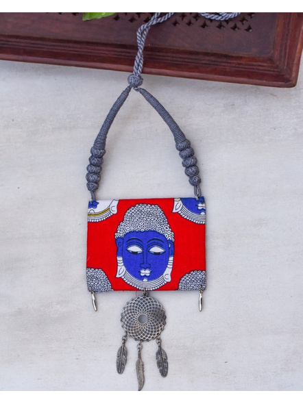 Handcrafted Designer Buddha Face Pendant with German Silver Floral Charm and Adjustable Grey Dori-LAACNL003
