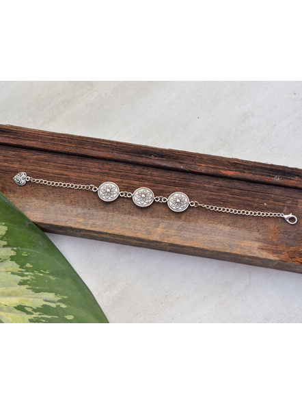 Designer Circular German Silver Floral bracelet-LAAHB001
