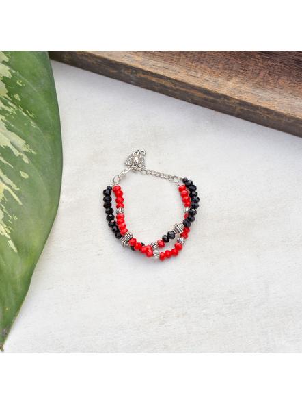 Designer Red Black Crystal Bracelet with Ganesh Charm and Adjustable Chain-1