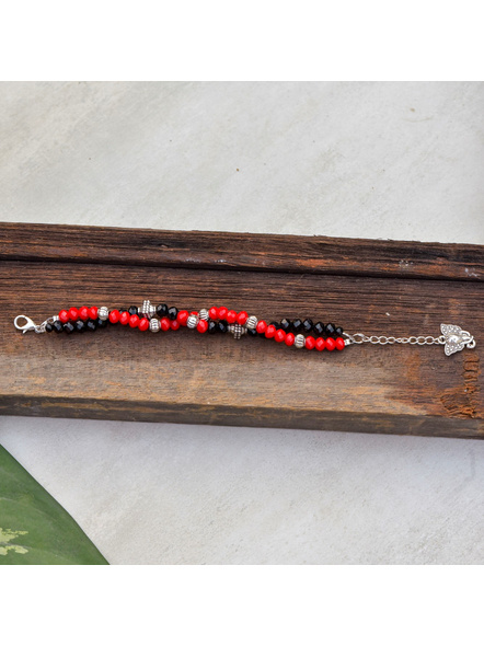 Designer Red Black Crystal Bracelet with Ganesh Charm and Adjustable Chain-2
