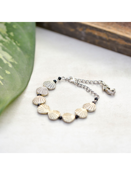 Designer German Silver Shell Bracelet with Mermaid Charm and Adjustable Chain-1