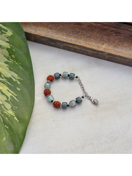 Designer Faux Rudraksh Bracelet with Greenish Bead Buddha Adjustable Chain-1