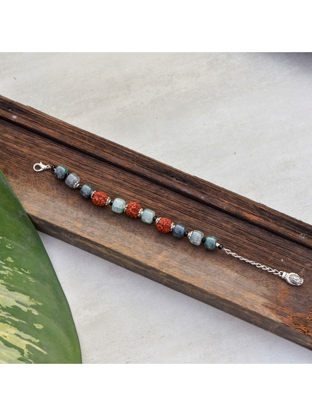 Designer Faux Rudraksh Bracelet with Greenish Bead Buddha Adjustable Chain-LAAHB007