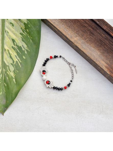 Hamsa Hand Bracelet with Red Black Crystal Chain-1