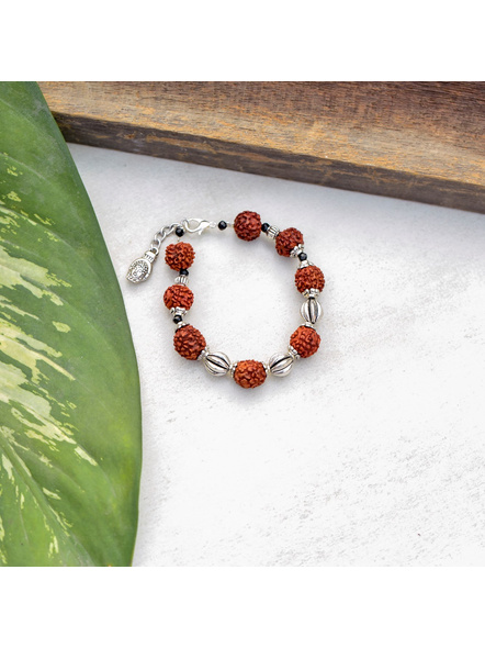 Faux Rudraksh Bracelet with Buddha Charm and Bead-1