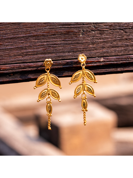 1.5g Gold Polished floral stud Two Layer Leaf Earring-LAAER349