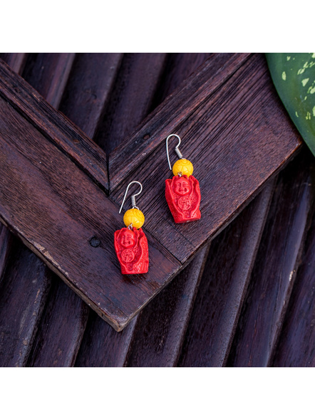 Designer Red Cinnabar Laughing Buddha Earring with Yellow Carved Bead-LAAER351