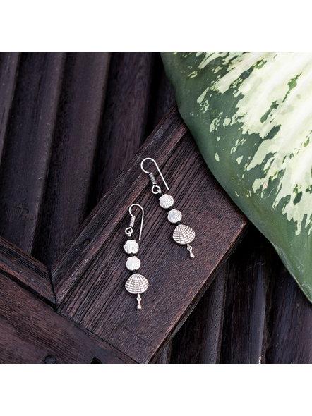 Look and Adorn Designer German Silver Shell Dangler Earring with Drop-LAAER352