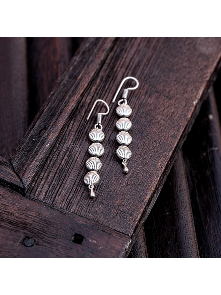Look and Adorn Designer German Silver Shell Earring with Drop-LAAER353