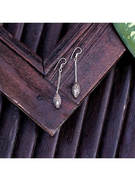 Designer German Silver Chain Dangler Earring-Silver-German Silver-Adult-Female-7cm-1