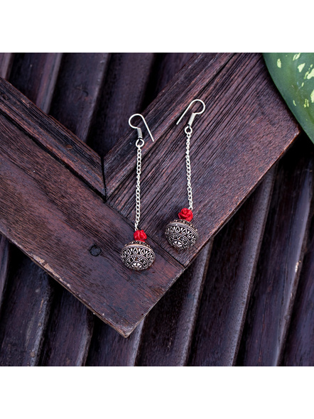 Designer German Silver Bead Earring with Red Carved Rose and Chain-1