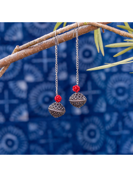 Designer German Silver Bead Earring with Red Carved Rose and Chain-LAAER355