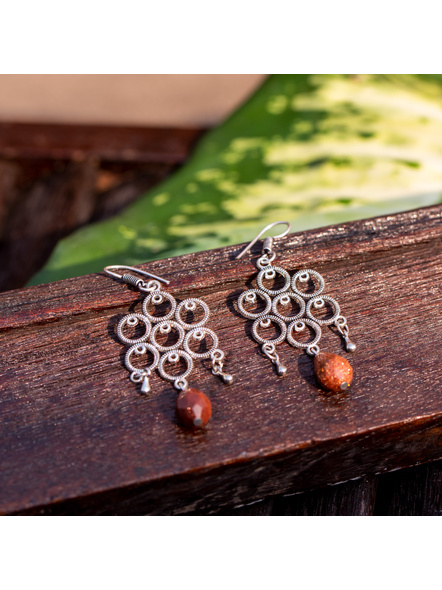 Look and Adorn Designer German Silver Round Frame Earring with Sand Stone Droplet-LAAER360