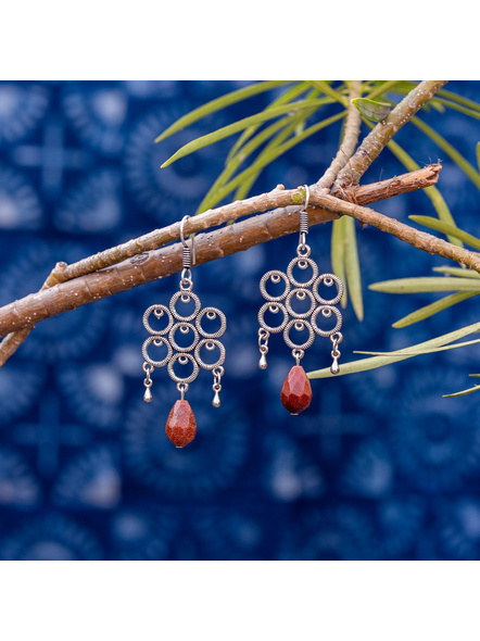 Look and Adorn Designer German Silver Round Frame Earring with Sand Stone Droplet-1