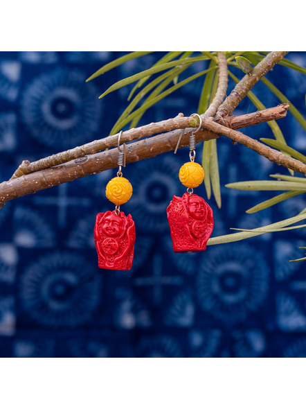 Designer Red Cinnabar Laughing Buddha Earring with Yellow Carved Bead-Red-Cinnabar-Adult-Female-6cm-1