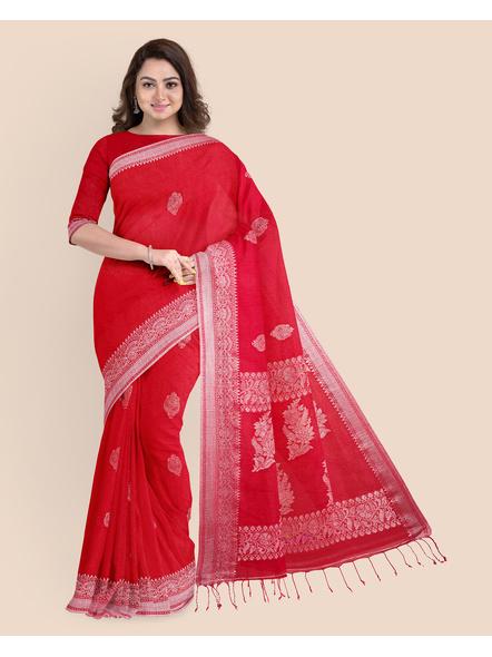 Exclusive Handwoven Red Linen Benarasi Soft Silver Zari Floral Saree with Blouse Piece-LAALBSWBP01