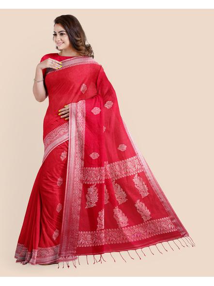 Exclusive Handwoven Red Linen Benarasi Soft Silver Zari Floral Saree with Blouse Piece-2