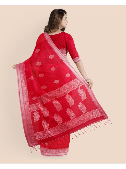 Exclusive Handwoven Red Linen Benarasi Soft Silver Zari Floral Saree with Blouse Piece-1