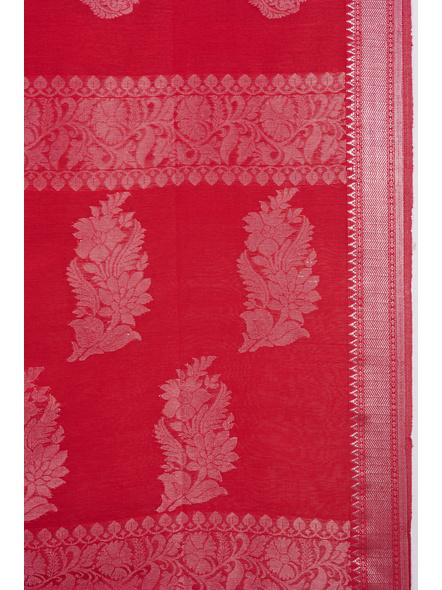 Exclusive Handwoven Red Linen Benarasi Soft Silver Zari Floral Saree with Blouse Piece-3