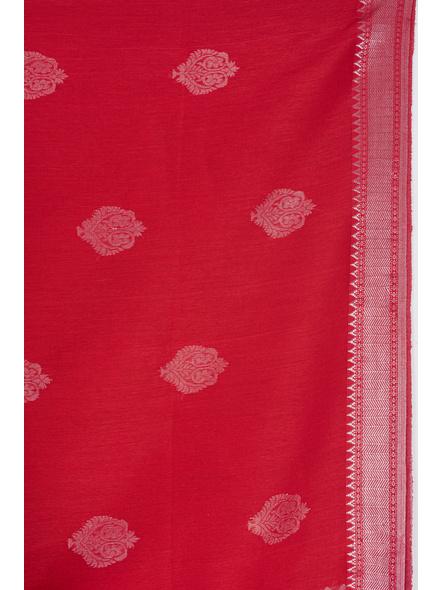 Exclusive Handwoven Red Linen Benarasi Soft Silver Zari Floral Saree with Blouse Piece-5
