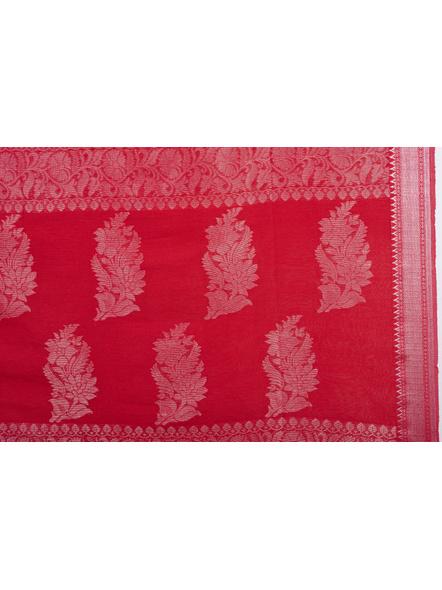 Exclusive Handwoven Red Linen Benarasi Soft Silver Zari Floral Saree with Blouse Piece-4
