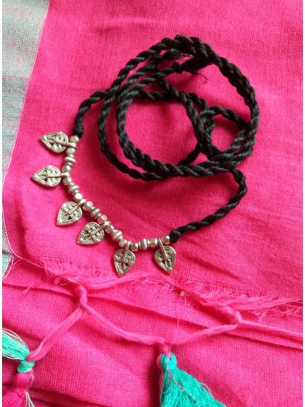 Look and Adorn Light weight Sleek German silver Leaf Charm neckwear with Adjustable black thread-1