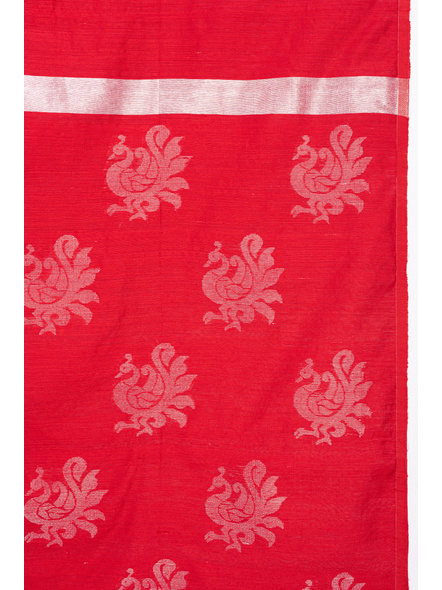 Exclusive Handwoven Red Matka Silk Silver Zari Peacock Motif Saree with Blouse piece-3