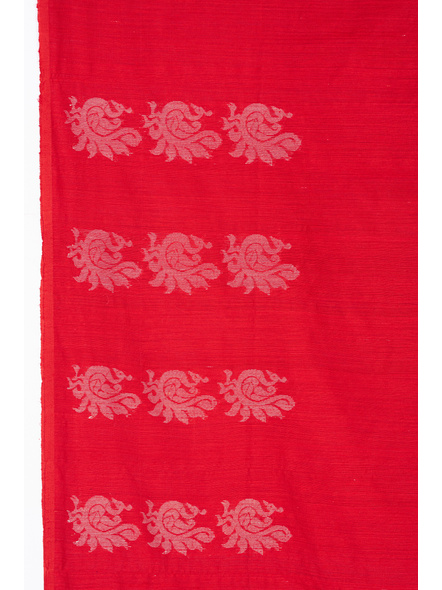 Exclusive Handwoven Red Matka Silk Silver Zari Peacock Motif Saree with Blouse piece-2