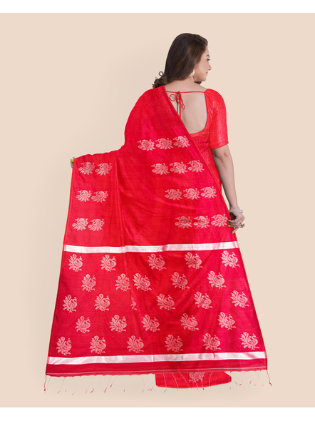 Exclusive Handwoven Red Matka Silk Silver Zari Peacock Motif Saree with Blouse piece-1