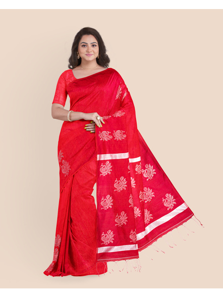 Exclusive Handwoven Red Matka Silk Silver Zari Peacock Motif Saree with Blouse piece-LAAMSWBP001