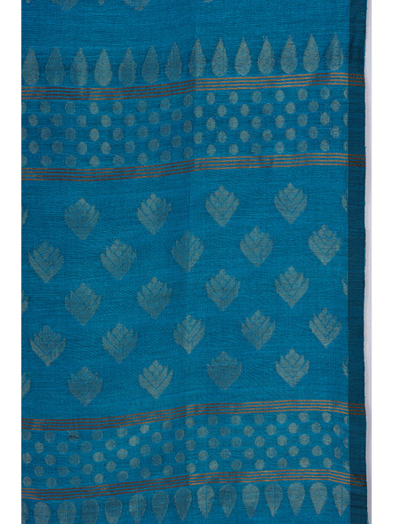 Exclusive Handwoven Ocean Blue Soft Copper Zari Organic Linen Saree with Blouse piece-3