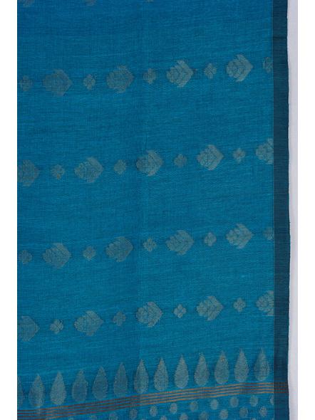 Exclusive Handwoven Ocean Blue Soft Copper Zari Organic Linen Saree with Blouse piece-2