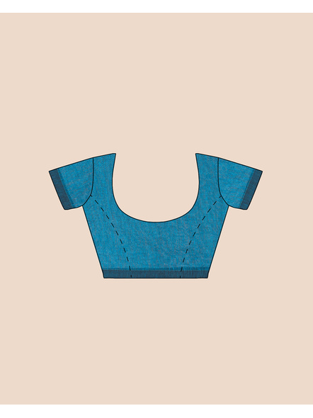Exclusive Handwoven Ocean Blue Soft Copper Zari Organic Linen Saree with Blouse piece-4