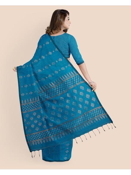 Exclusive Handwoven Ocean Blue Soft Copper Zari Organic Linen Saree with Blouse piece-1