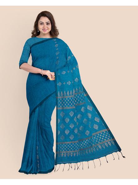 Exclusive Handwoven Ocean Blue Soft Copper Zari Organic Linen Saree with Blouse piece-LAAOLSWBP001