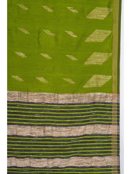 Exclusive Handwoven Cotton Silk Fern Green Blue Gheecha Saree with Blouse piece-3