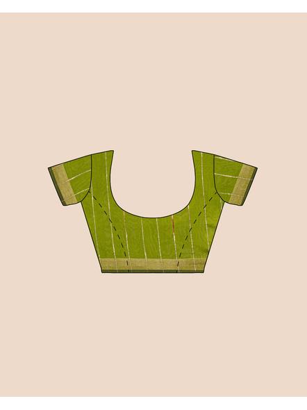 Exclusive Handwoven Cotton Silk Fern Green Blue Gheecha Saree with Blouse piece-4
