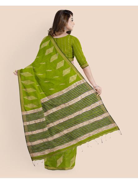 Exclusive Handwoven Cotton Silk Fern Green Blue Gheecha Saree with Blouse piece-1