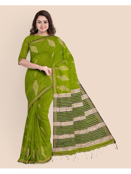 Exclusive Handwoven Cotton Silk Fern Green Blue Gheecha Saree with Blouse piece-LAACSHS003