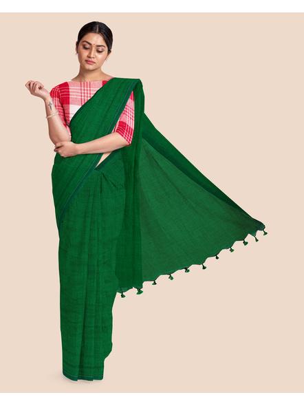 Mercerized Handloom Emerald Green Khadi Cotton Saree with Blouse Piece-LAAMHCWBP017
