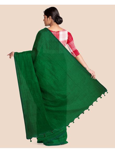 Mercerized Handloom Emerald Green Khadi Cotton Saree with Blouse Piece-1