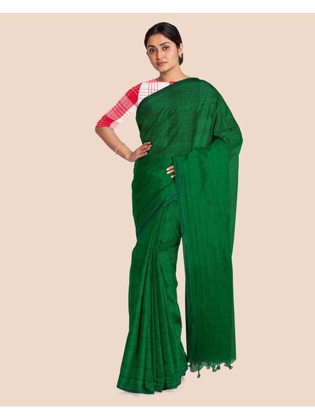 Mercerized Handloom Emerald Green Khadi Cotton Saree with Blouse Piece-3