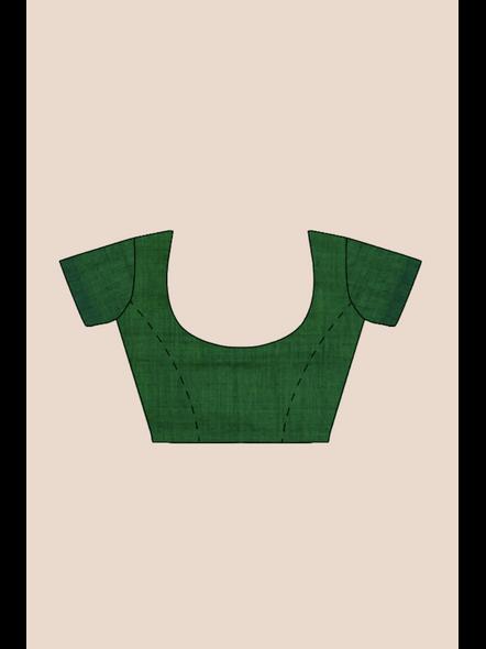 Mercerized Handloom Emerald Green Khadi Cotton Saree with Blouse Piece-4