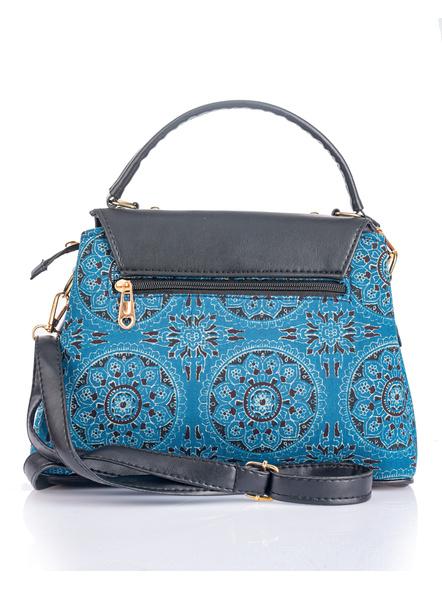 Indigo Ajrakh Black Flap Bag with Adjustable Removable Sling-3