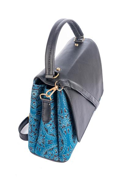 Indigo Ajrakh Black Flap Bag with Adjustable Removable Sling-2