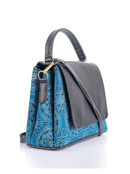 Indigo Ajrakh Black Flap Bag with Adjustable Removable Sling-1