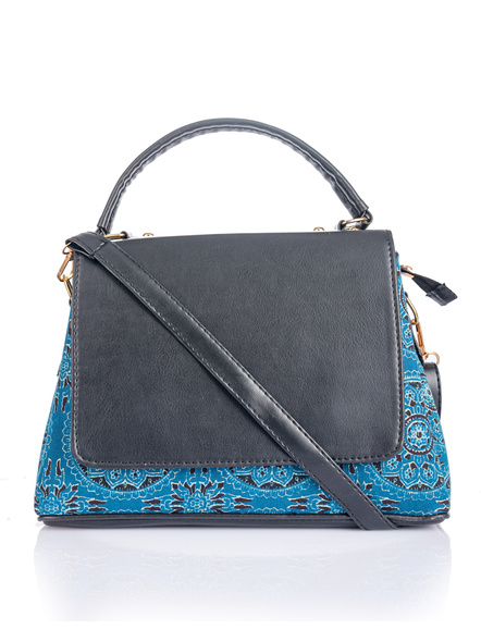 Indigo Ajrakh Black Flap Bag with Adjustable Removable Sling-LAAFBS001