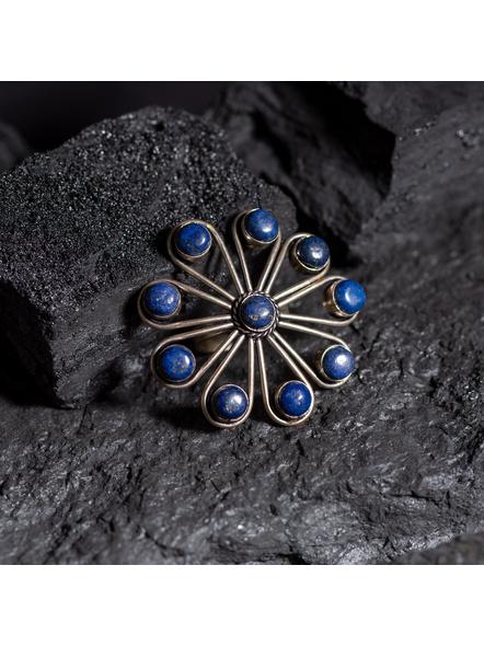 Semi Precious Lapis Lazuli Stone studded Floral Adjustable Finger ring-LAAR007