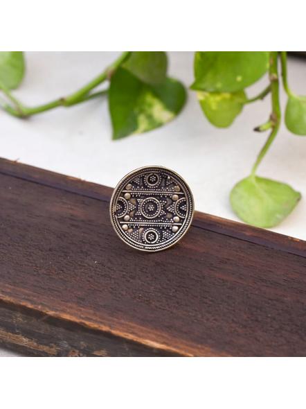 Circular German Silver Adjustable Finger ring-LAAR006